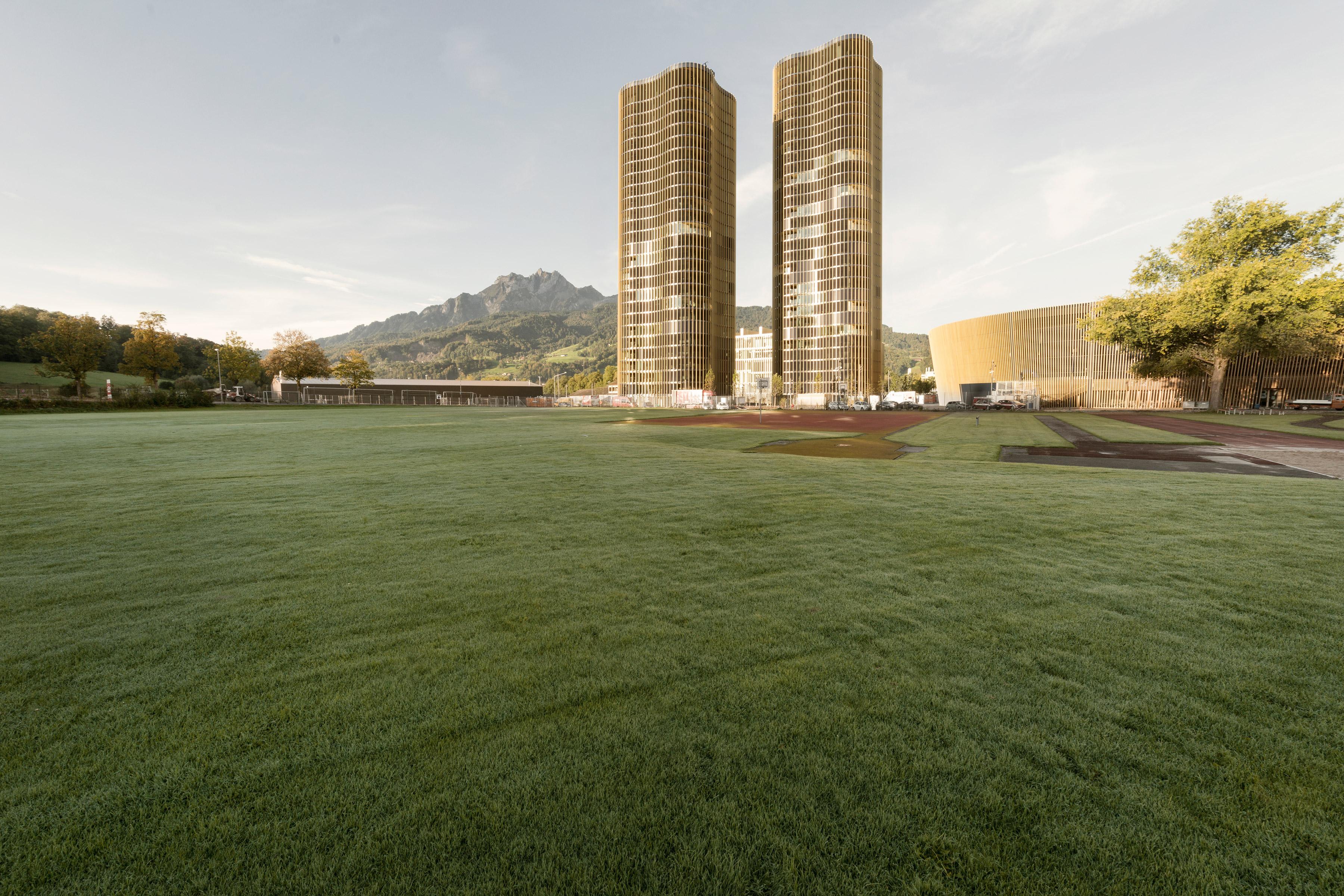 Architecture photo about Swissporarena building stadion Luzern