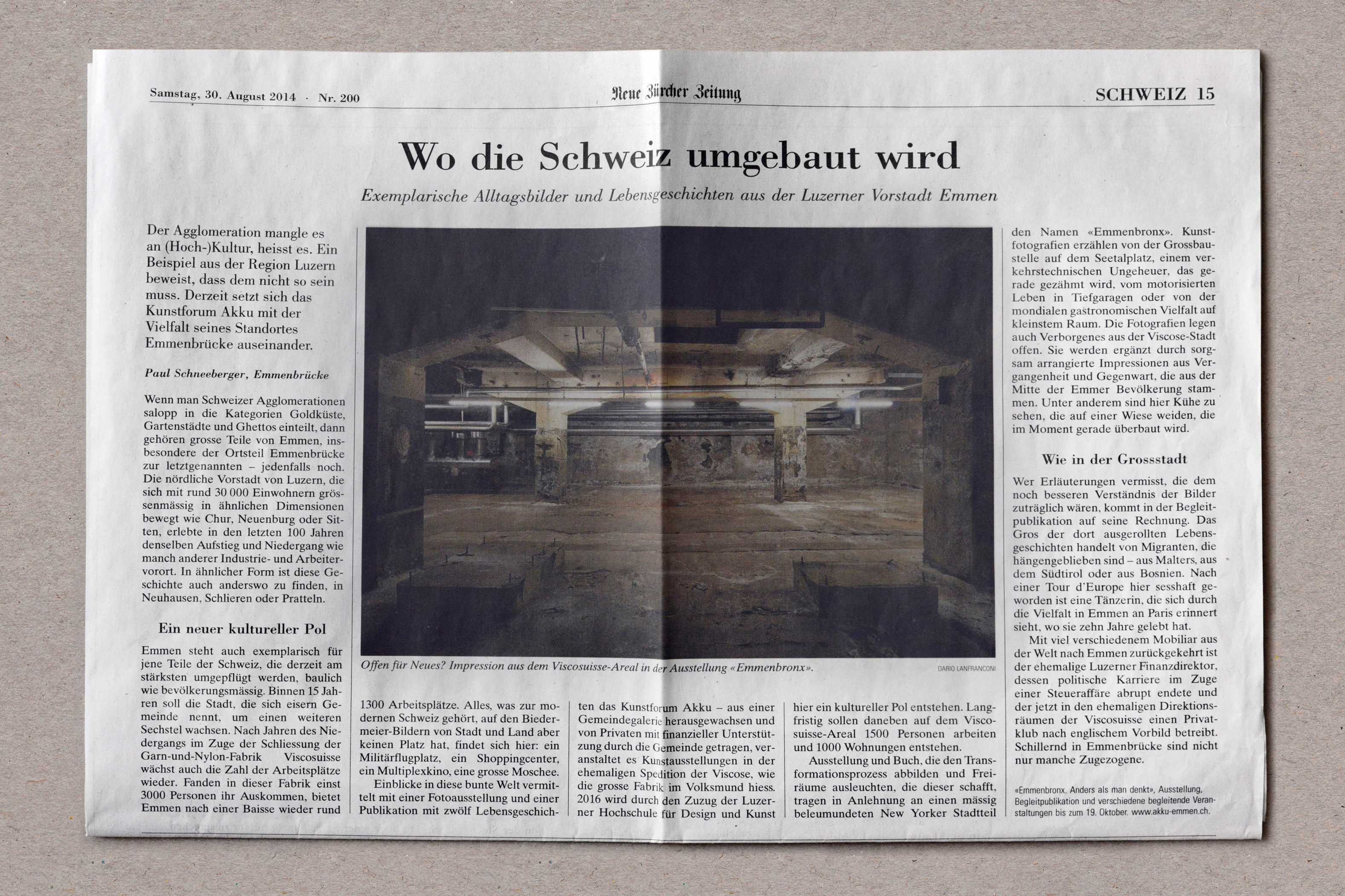 Photo of article about Emmenbronx exhibition Emmenbrücke
