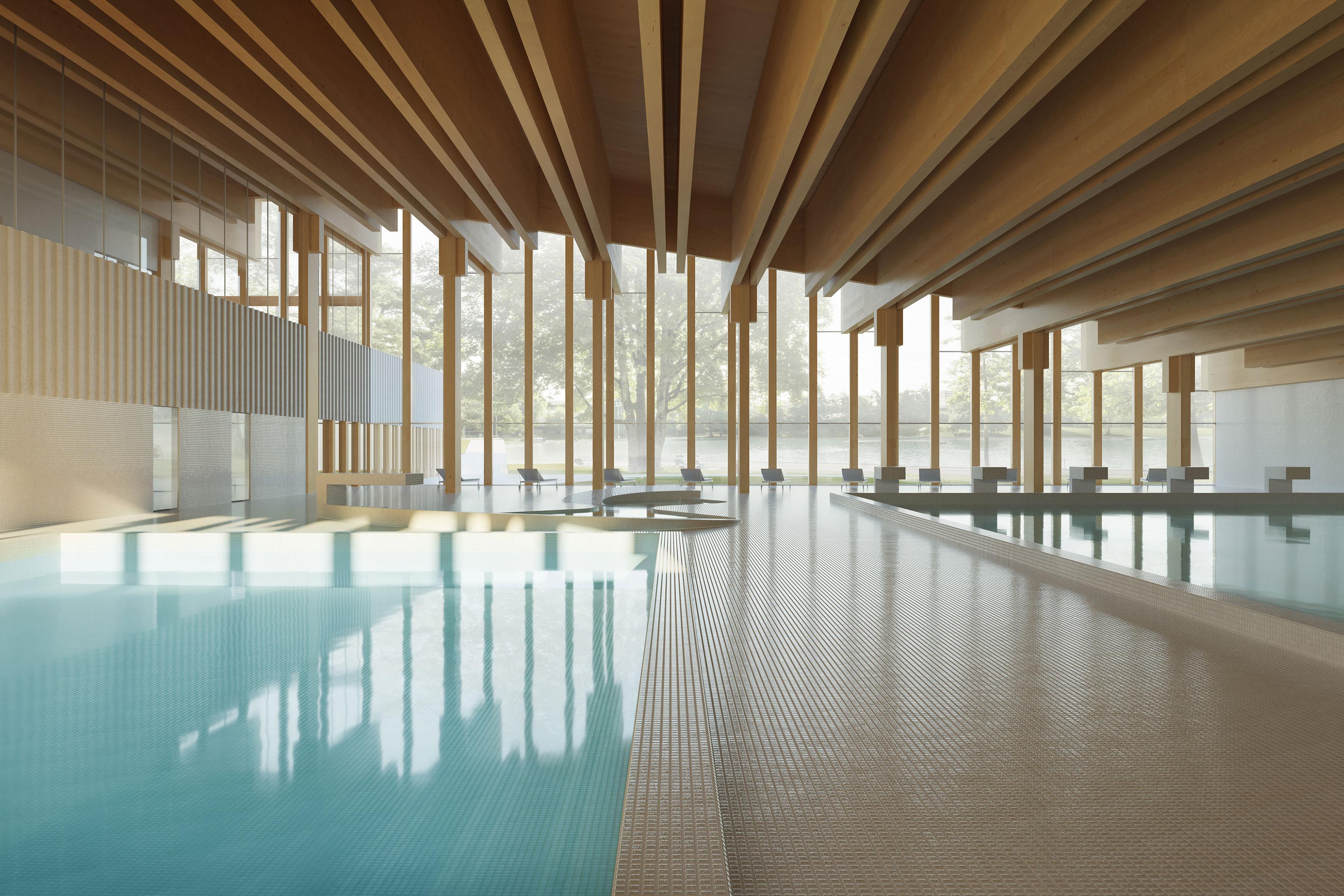 Indoor pool of Weyermansshaus competition entry Marques Architekten AG 2020 | Schwimmbau Erneuerung Sportanlage Weyermannshaus 2020